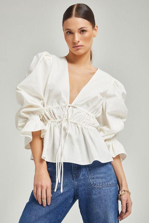 Blusa de linho com duas canaletas e amarração frente Off white