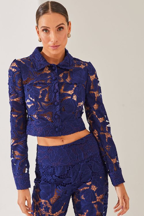 Camisa curta renda trabalhada Azul marinho