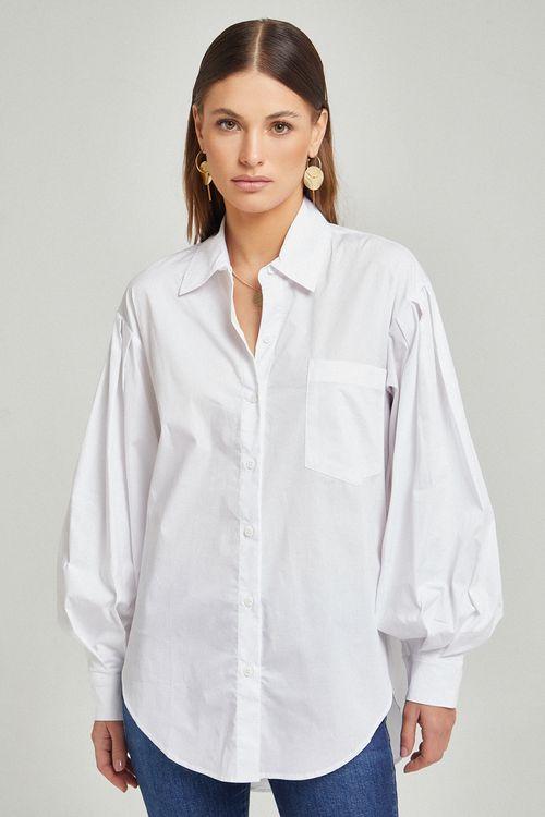 Camisa mg bufante e botao vista Branco