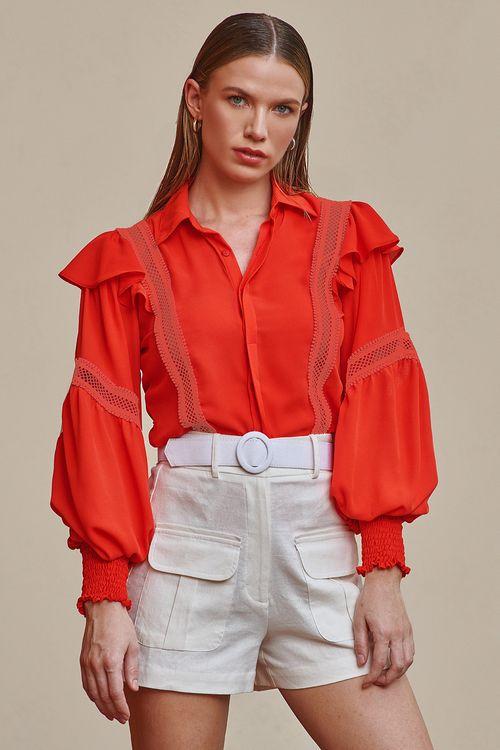 Camisa manga longa com babados e detalhes vazados Laranja