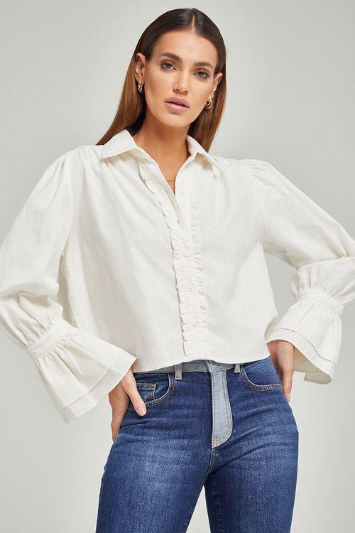Camisa classica punho evase Off white