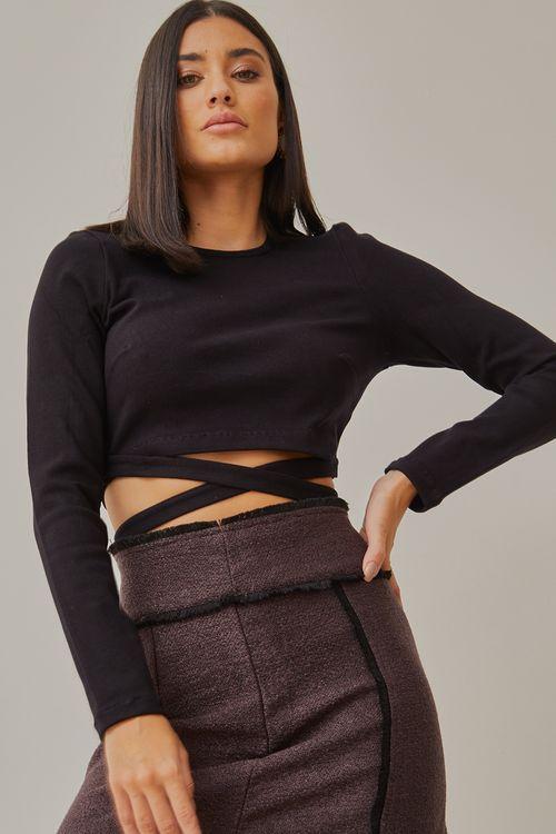 Cropped manga longa com amarração na cintura Preto