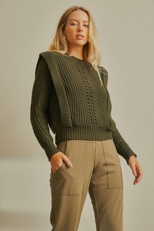 Blusa tricot manga comprida detalhe cava Verde
