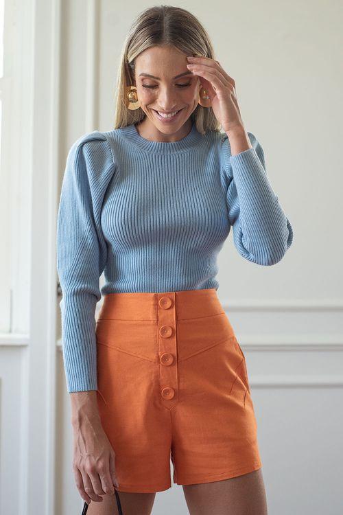Blusa tricot pregas na cava Azul