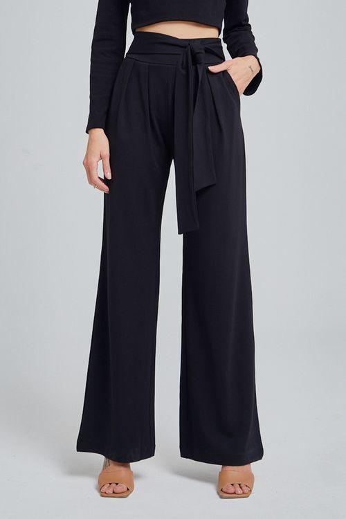 Calça de malha alfaiatada pregas frente amarração cintura Preto