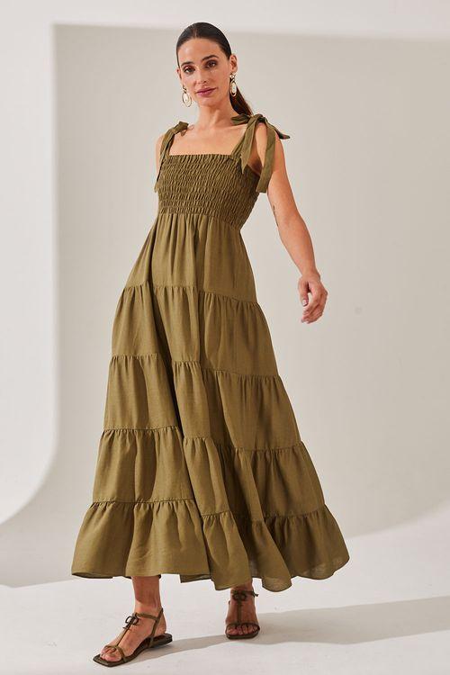 Vestido silvia braz tanzania de linho com lastex no busto Verde exercito