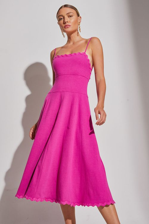 Vestido silvia braz com alça fina para amarrar Pink