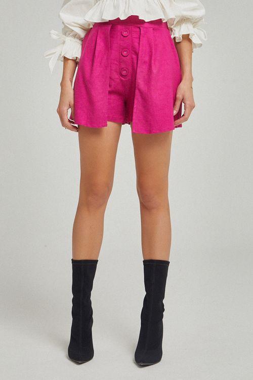 Shorts botão forrado na frente Pink