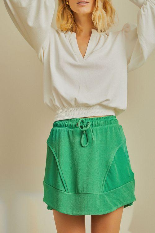 Saia short com recortes elastico e ilhos na cintura Verde