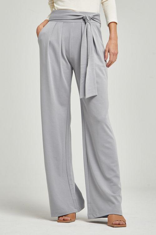 Calça de malha alfaiatada pregas frente amarração cintura Cinza