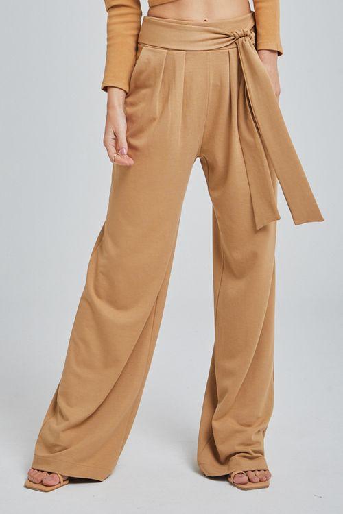 Calça de malha alfaiatada pregas frente amarração cintura Kaki