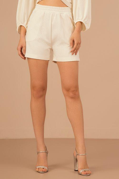 Short com elastico na cintura bolso frente e costa Off white