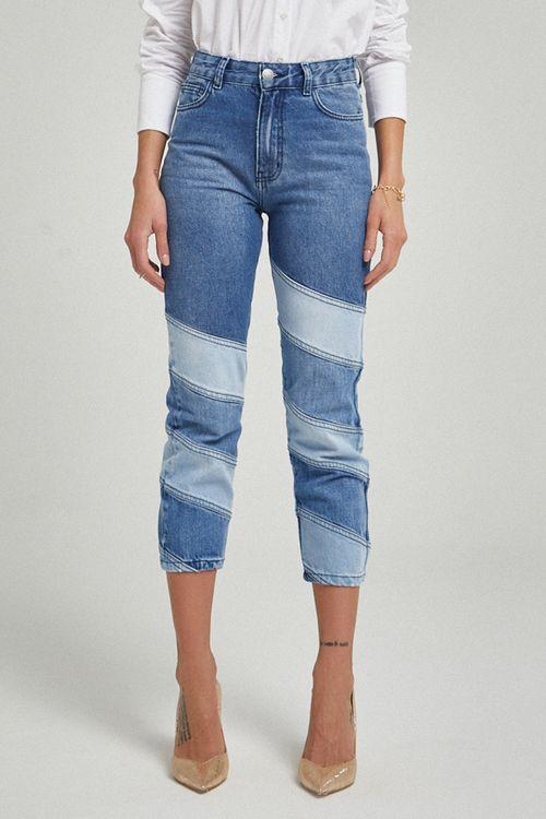Calça patchwork em três lavagens reta Azul jeans