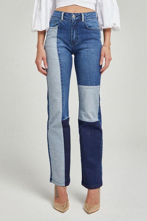 Calça reta flare patchwork Azul jeans