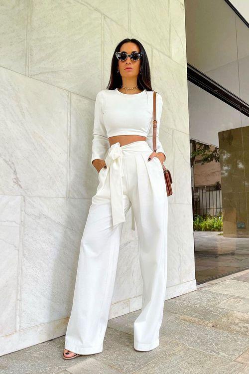 Calça de malha alfaiatada pregas frente amarração cintura Off white