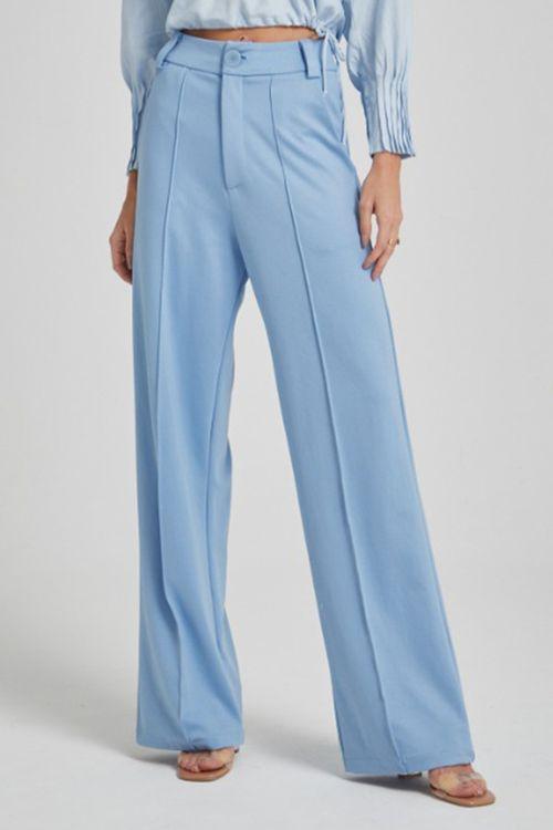 Calça pantalona de malha com friso Azul