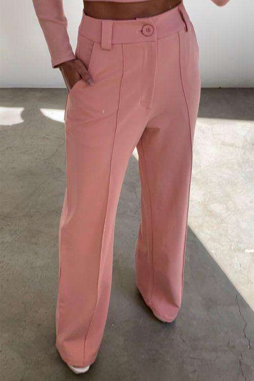 Calça  pantalona de malha com friso Blush