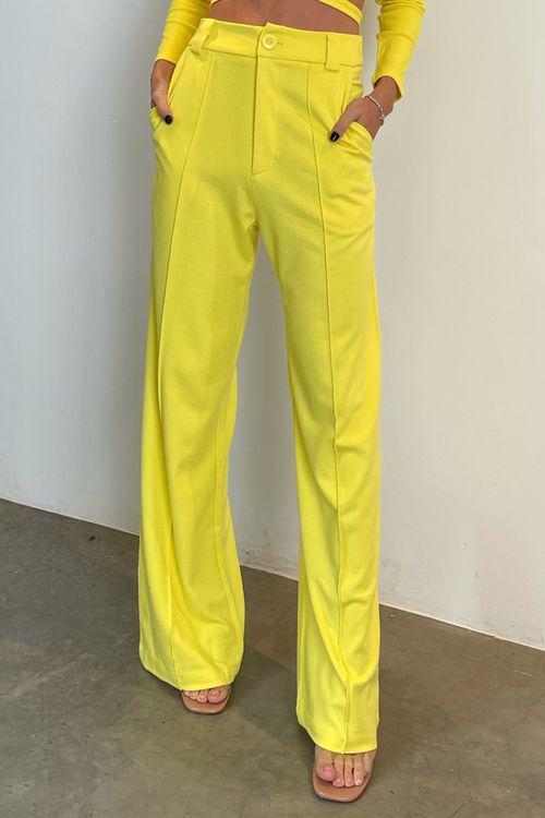Calça pantalona de malha com friso Amarelo