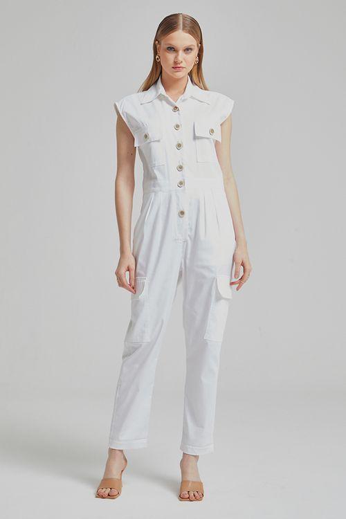 Macacão sarja com bolsos e botões frontal Off white