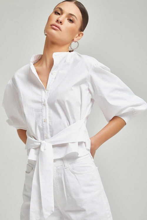 Camisa curta com amarração na cintura Branco