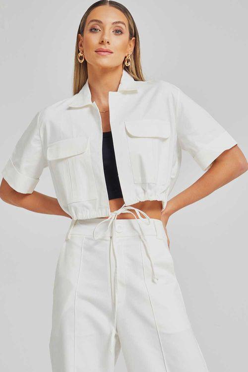 Camisa sarja com amarração e bolsos frontais Off white