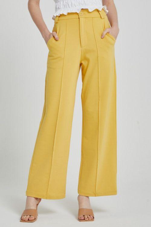 Calça pantalona de malha com friso Mostarda