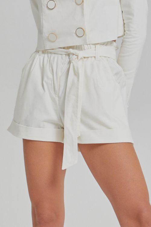 Shorts sarja com amarração e barra dobrada Off white