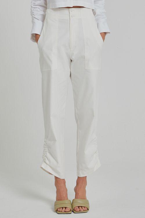 Calça com elastico na cintura e punho franzido Off white
