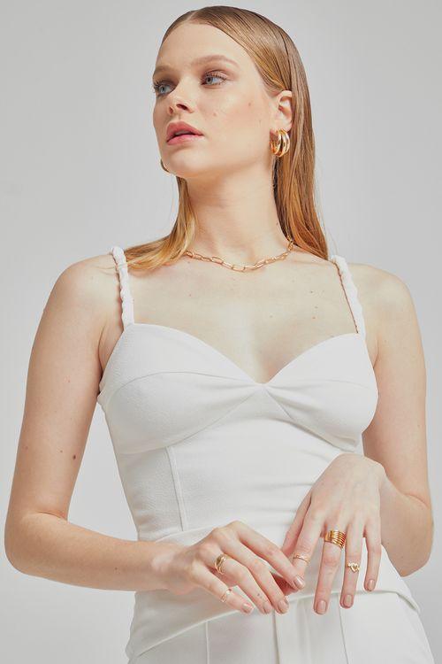 Cropped com alças franzidas Off white