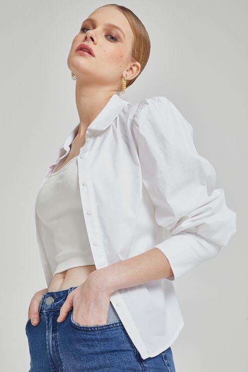 Camisa com pregas manga bufante botoes vista e mangas Branco