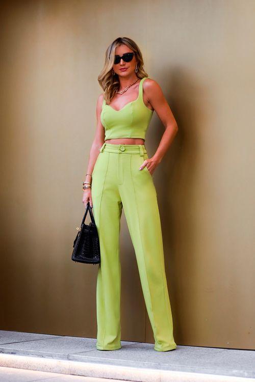 Calça pantalona de malha com friso Verde