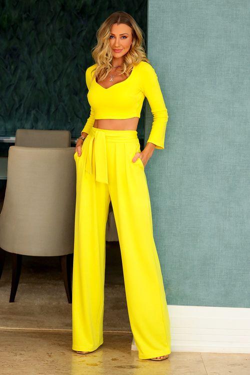 Calça de malha alfaiatada pregas frente amarração cintura Amarelo
