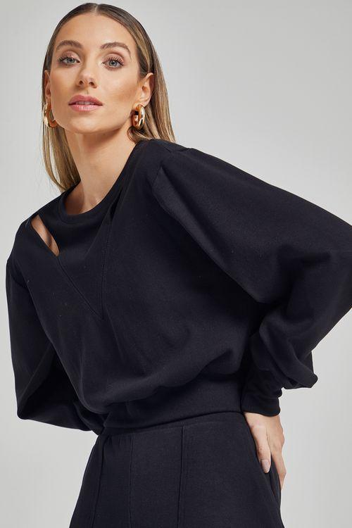 Blusa de moleton com recortes nos ombros Preto