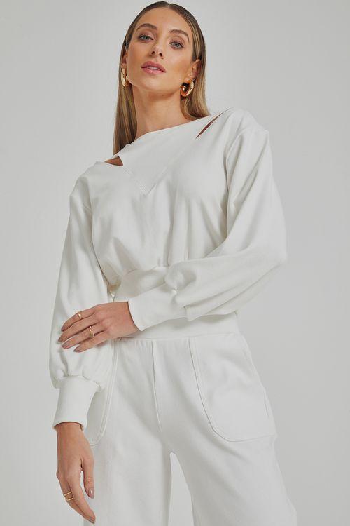Blusa de moleton com recortes nos ombros Off white