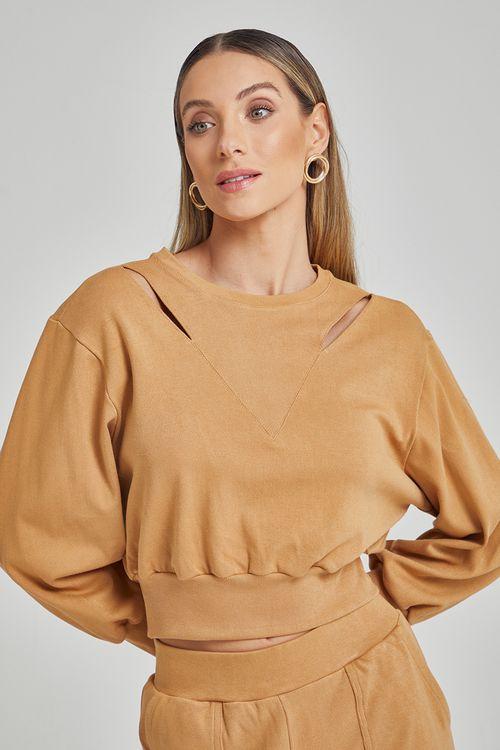 Blusa de moleton com recortes nos ombros Caqui