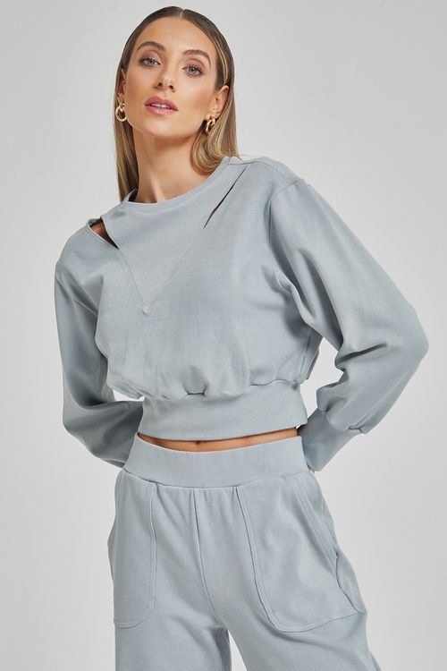 Blusa de moleton com recortes nos ombros Cinza