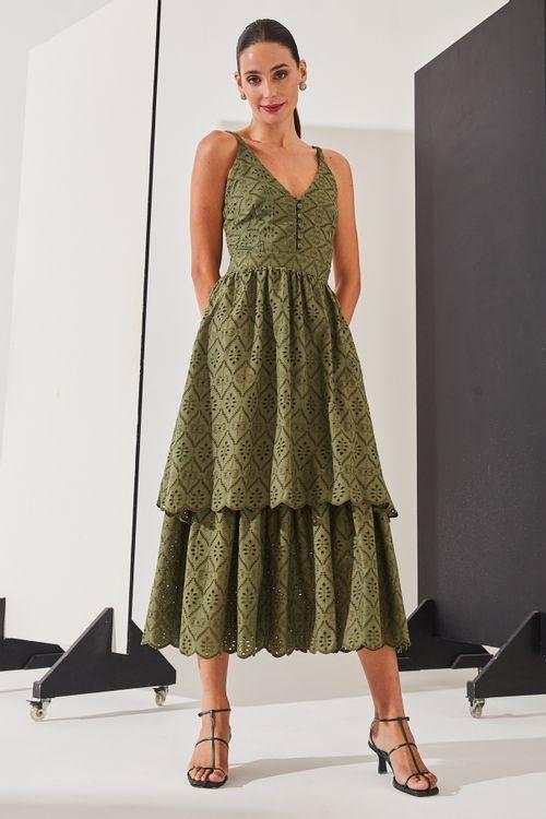 Vestido de alças finas de laise Verde