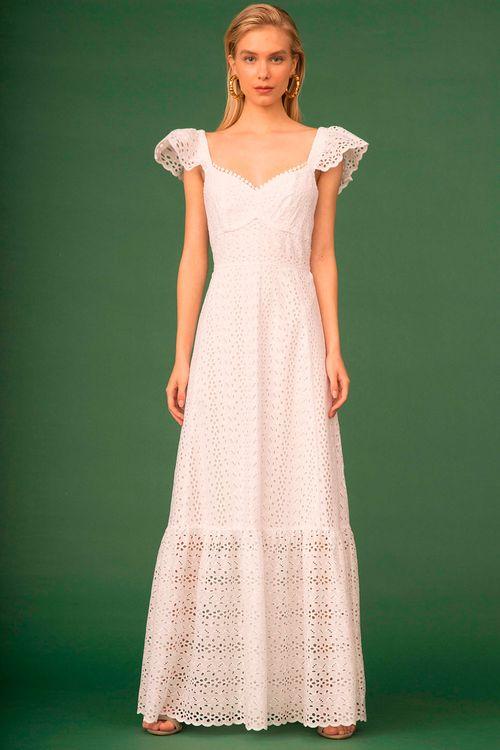 Vestido longo com manguinha babado e rendinha no decote Branco