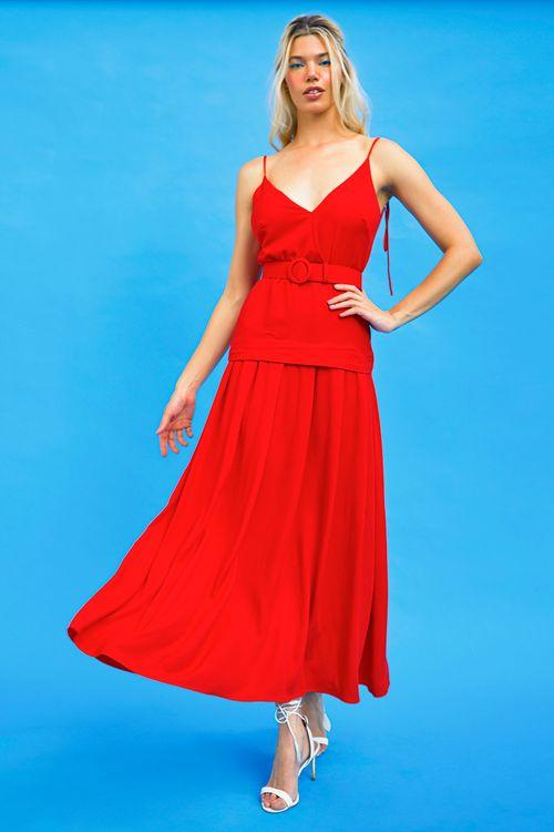 Vestido viscose twill com cinto Vermelho