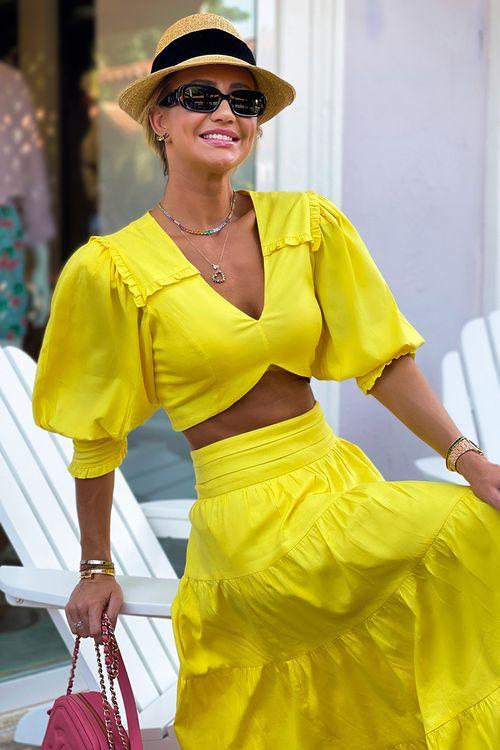 Blusa decote v com lastex no punho Amarelo
