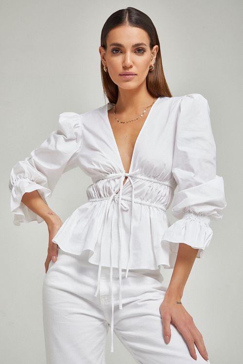 Blusa de linho com duas canaletas e amarração frente Branco