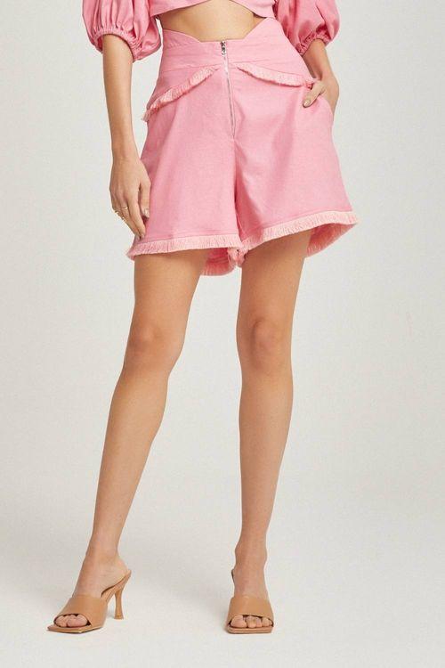 Short cintura alta com detalhe de franja Pink