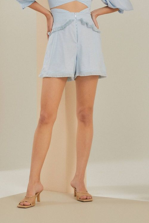 Short cintura alta com detalhe de franja Azul
