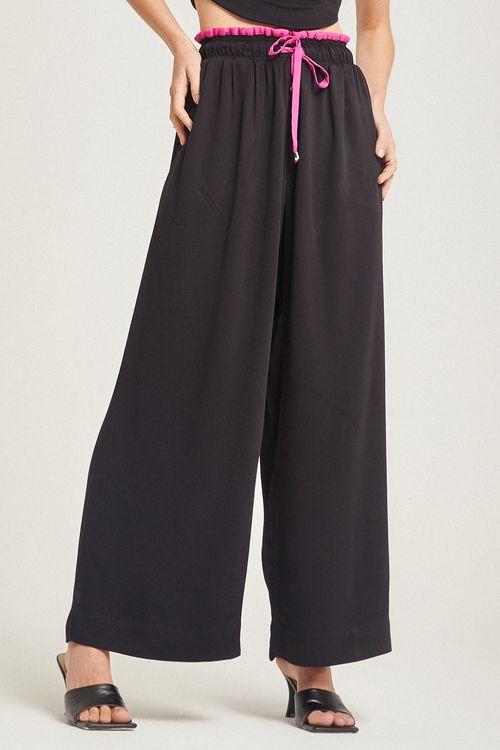 Calça patalona com detalhe bicolor cós e galão Preto