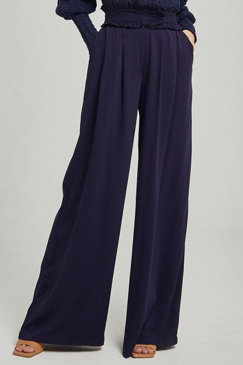 Calça pantalona com transpasse no cós Azul marinho